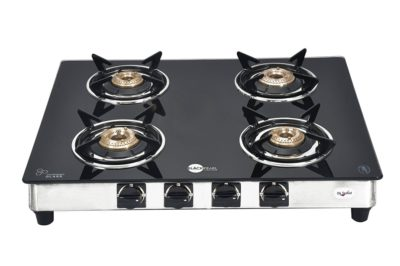 the gas stove that we recommend to our users is the blackpearl glass 4 burner manual gas stove which offers all the amazing features and comes in with an