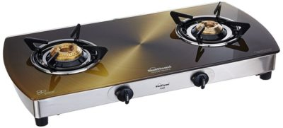 it comes in with 2 gas burners together with a brushed matt finish with stainless steel base